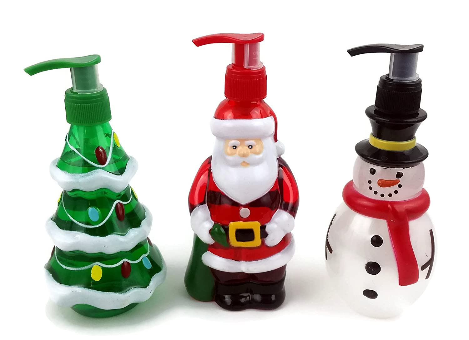 Holiday Hand Soaps Trio. Christmas themed dispensers shaped like Santa Claus, Frosty the Snowman and a Christmas Tree