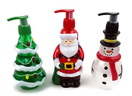 chorus enterprises holiday hand soaps trio christmas themed dispensers shaped like santa claus frosty