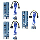 Ptsaying PCIe PCI-E 16x 8x 4x 1x Powered Riser Adapter Card With LED hint w/ 60cm USB 3.0 Extension Cable & 6-Pin PCI-E to SATA Power Cable - GPU Riser Adapter - Ethereum Mining ETH