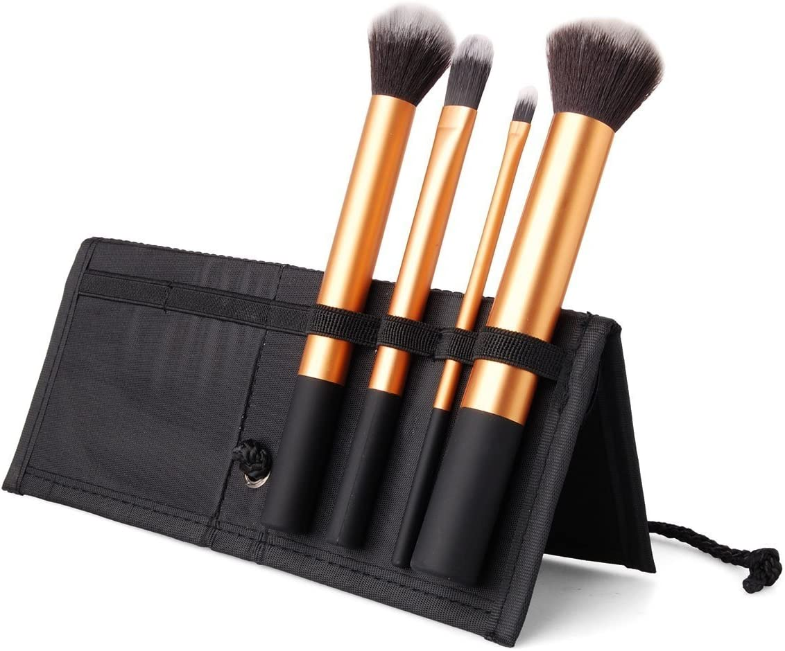 Estuche Con 4 Cepillos Maquillaje - Pelo Sintético, Manija De Aluminio, Estuche De Paño Negro by DELIAWINTERFEL: Amazon.es: Belleza