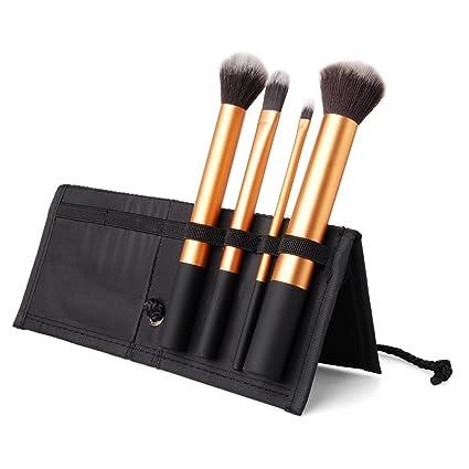 Estuche Con 4 Cepillos Maquillaje - Pelo Sintético, Manija De Aluminio, Estuche De Paño Negro by DELIAWINTERFEL
