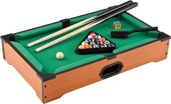 RymanGifts 05387 Juego de Billar de sobremesa 52cm. Incluye 2 Palos, 2 Tacos, Cubo de Tacos, triángulo para Bolas, un Cepillo y 16 Bolas de Billar: Amazon.es: Juguetes y juegos