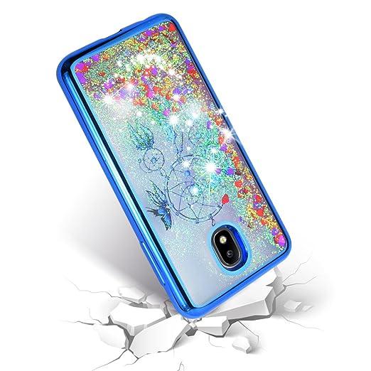 ... Galaxy J7 Refine, J7 V 2nd Gen, J7 Star Liquid Glitter Quicksand Flowing Sparkle Clear Cute Bling Case (Blue): Cell Phones & Accessories