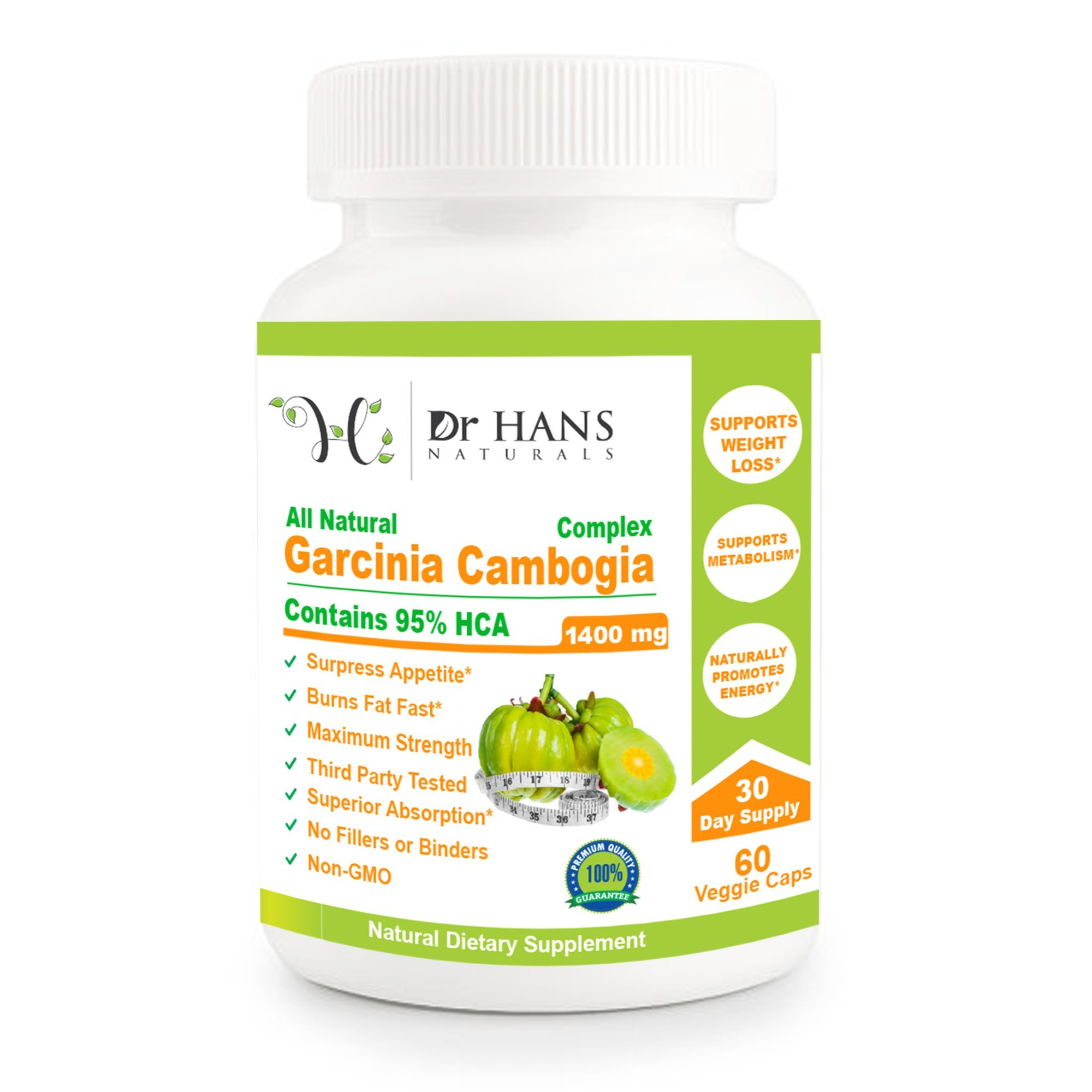 Garcinia Cambogia 100% Natural Pure Garcinia Cambogia Extract with HCA - All Natural Appetite Suppressant, Weight Loss Supplement