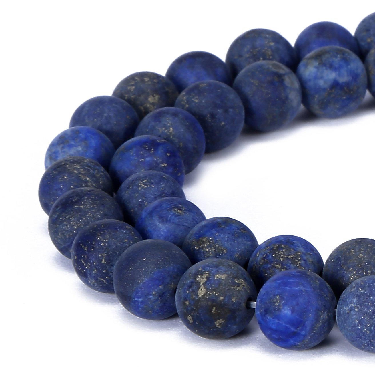BRCbeads lapis lazuli Natural Gemstone Loose Beads 10mm Matte Round Crystal Energy Stone Healing Power for Jewelry Making- Blue