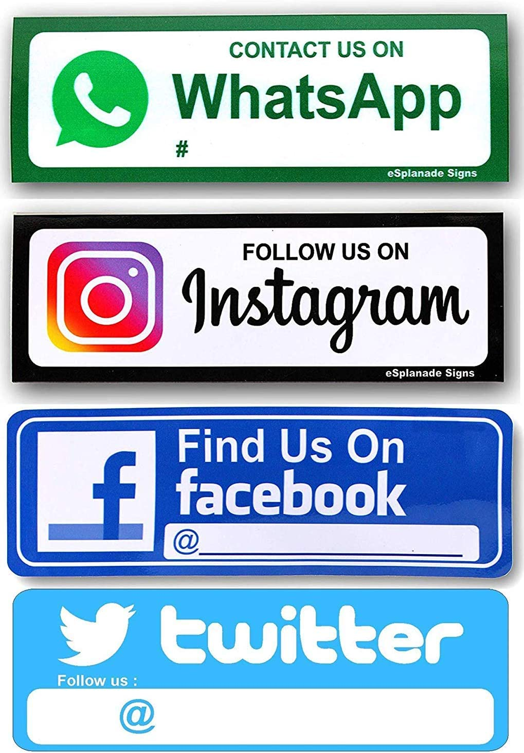 """eSplanade FIND US ON Facebook,Twitter and Instagram,Whatsapp Sign Sticker Decal Combo (Set of 4) - Easy to Mount Weather Resistant Long Lasting Ink Size (9"""" x 3"""")"""