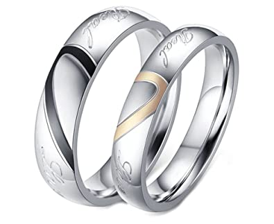 f39163a4f5fa Daesar Herren Ringe Männer Ringe Paar Ringe Eheringe Trauringe  Hochzeitsringe LOVE Herz Puzzle Silber Ringe Herren