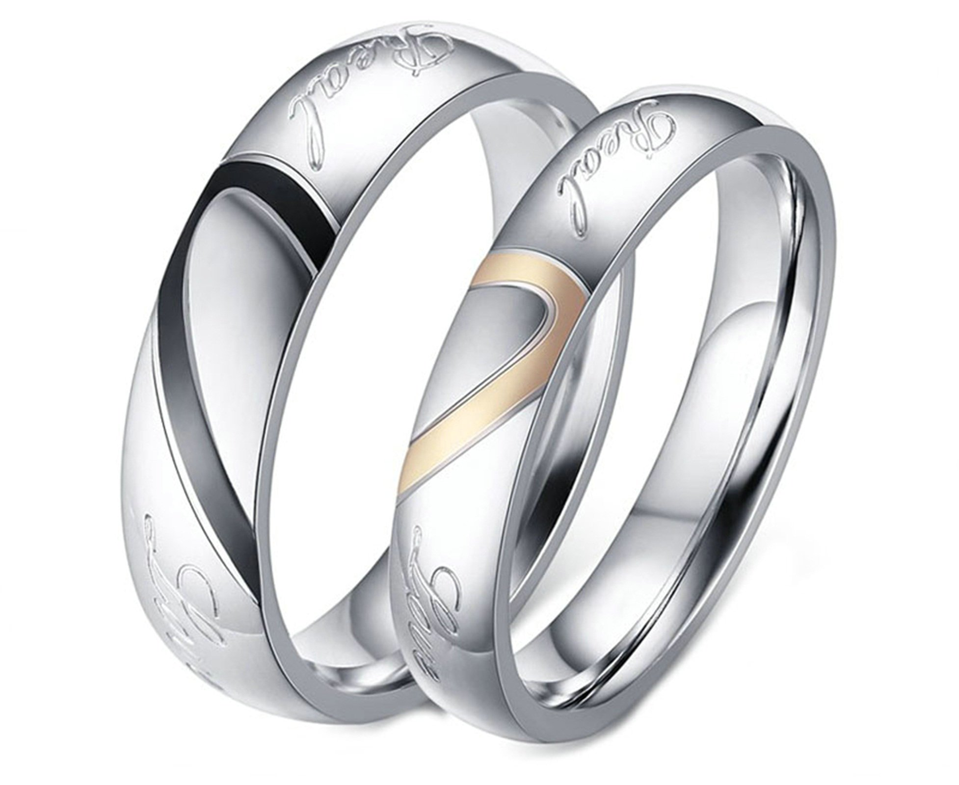 Aooaz Stainless Steel Rings Wedding Rings Friendship Rings Women Rings Men Rings Silver Love Heart Puzzle Rings Free Engraving Womens 6 & Men 6 Novelty Jewelry Gift