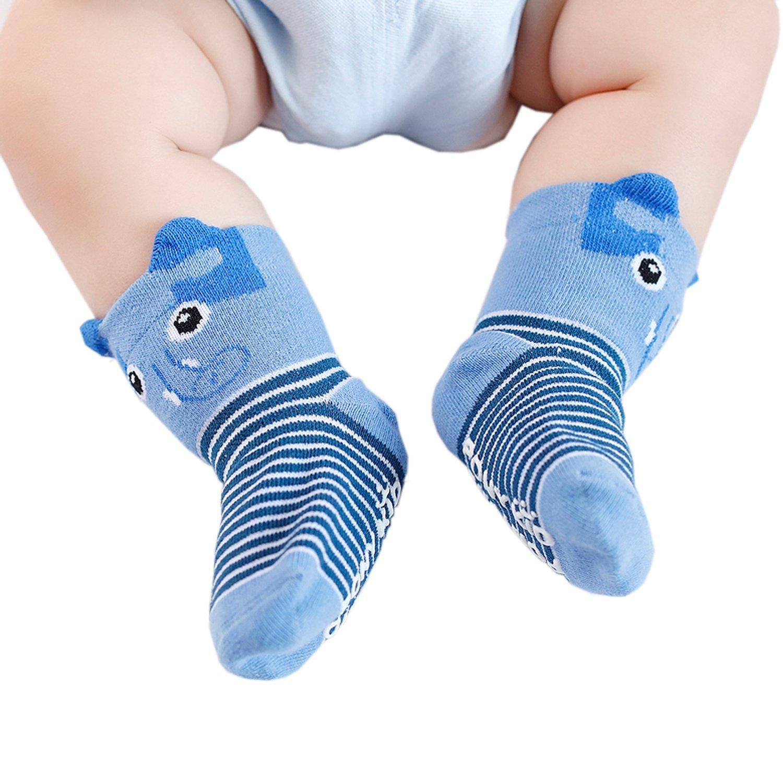 FlyingP Baby Socks 5 Pairs Anti Skid Slip Socks Non Skid Ankle Cotton Socks Baby Walker Grip Socks for 12-36 Months Toddler and Infants by FlyingP (Image #4)