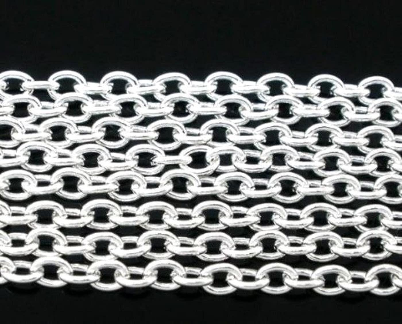 10/m 3,5/mm x 2,5/mm versilbert Kabel Kette Craft Schmuckherstellung aufreihmaterialien Fashion Arts Crafts