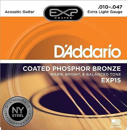 CUERDAS GUITARRA ACUSTICA - D´Addario (EXP/15) Extra Lite Coated ...