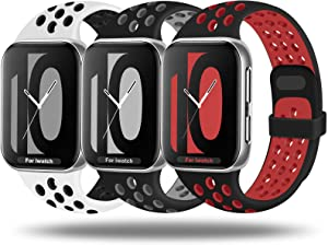 JuQBanke Sport Band 3 Pack Compatible for Apple Watch Band 38mm 40mm 42mm 44mm, Soft Silicone Sport Replacement Wristband Compatible with iWatch Series 1/2/3/4/5/6 SE