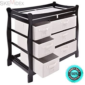 54e77c1e4f0d SKEMiDEX---Black Sleigh Style Baby Changing Table Diaper 6 Basket Drawer  Storage Nursery