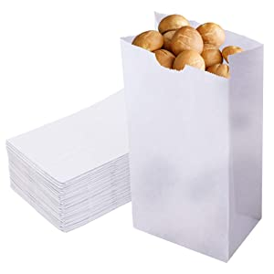 [125 Pack] 4 Lb Waxed Bakery Bags - White Paper Lunch Bags, Biodegradable Grease Resistant Paper Bag for to Go Snacks Treat, Cookie, Sandwich, Candy, Popcorn, Bread, Wedding, Party Flavor, Restaurant
