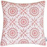 HWY 50 の 花柄クッションカバー キャンバス生地 五つ花刺繍 ピンク 45x45cm