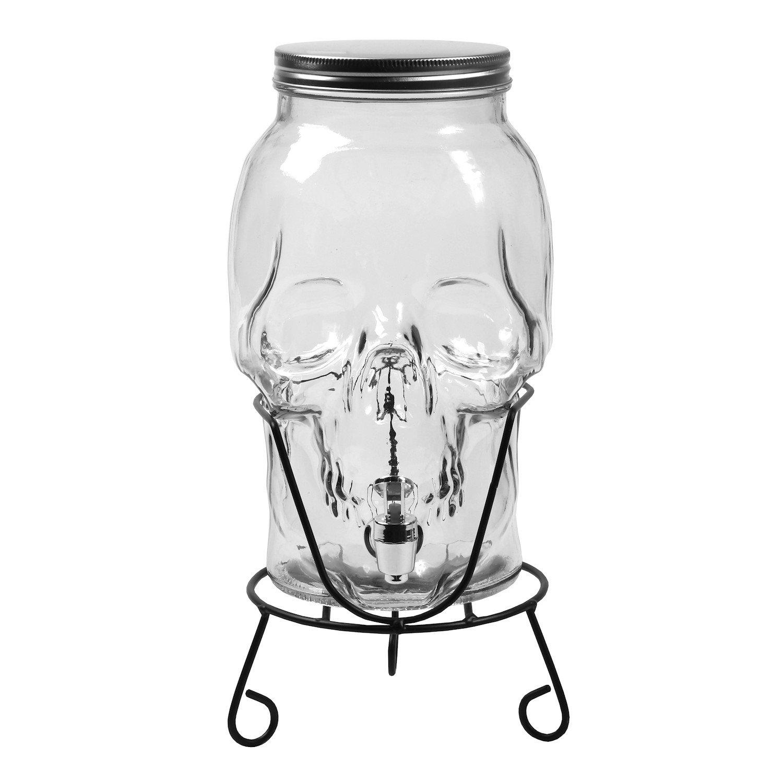 What on Earth Skull Shaped Glass Beverage Dispenser - 168 oz / 5 Liter Capacity