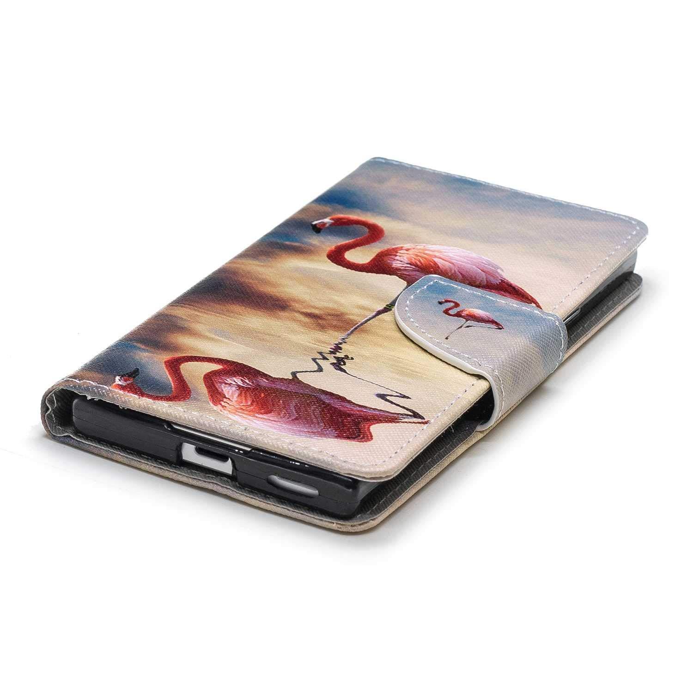DENDICO Case Leder Handyh/ülle Flip Schutzh/ülle im Kartenfach Flamingo Sony Xperia XA1 H/ülle D/ünn Klapph/ülle Farbmalerei Art Brieftasche f/ür Sony Xperia XA1