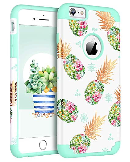 reputable site 3d66a 4289c BENTOBEN Phone Case for Apple iPhone 6S Plus/6 Plus Cute Pineapple  Protective Girly Slim Phone Case Heavy Duty Dual Layer 2 in 1 Hard PC Soft  TPU ...