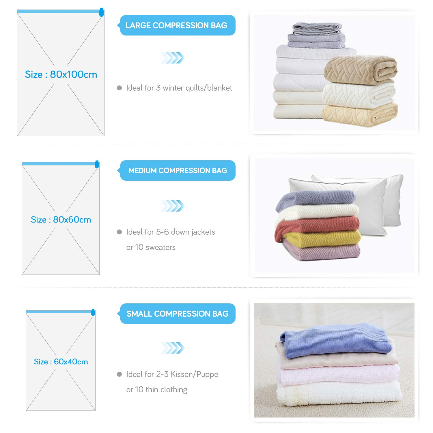 Fansteck Vacuum Storage Bags 15 Packs Save Up 80/% Space for Clothes Duvets Pillows Blankets and Travel Double Zip with Jumbo Large Medium Sizes