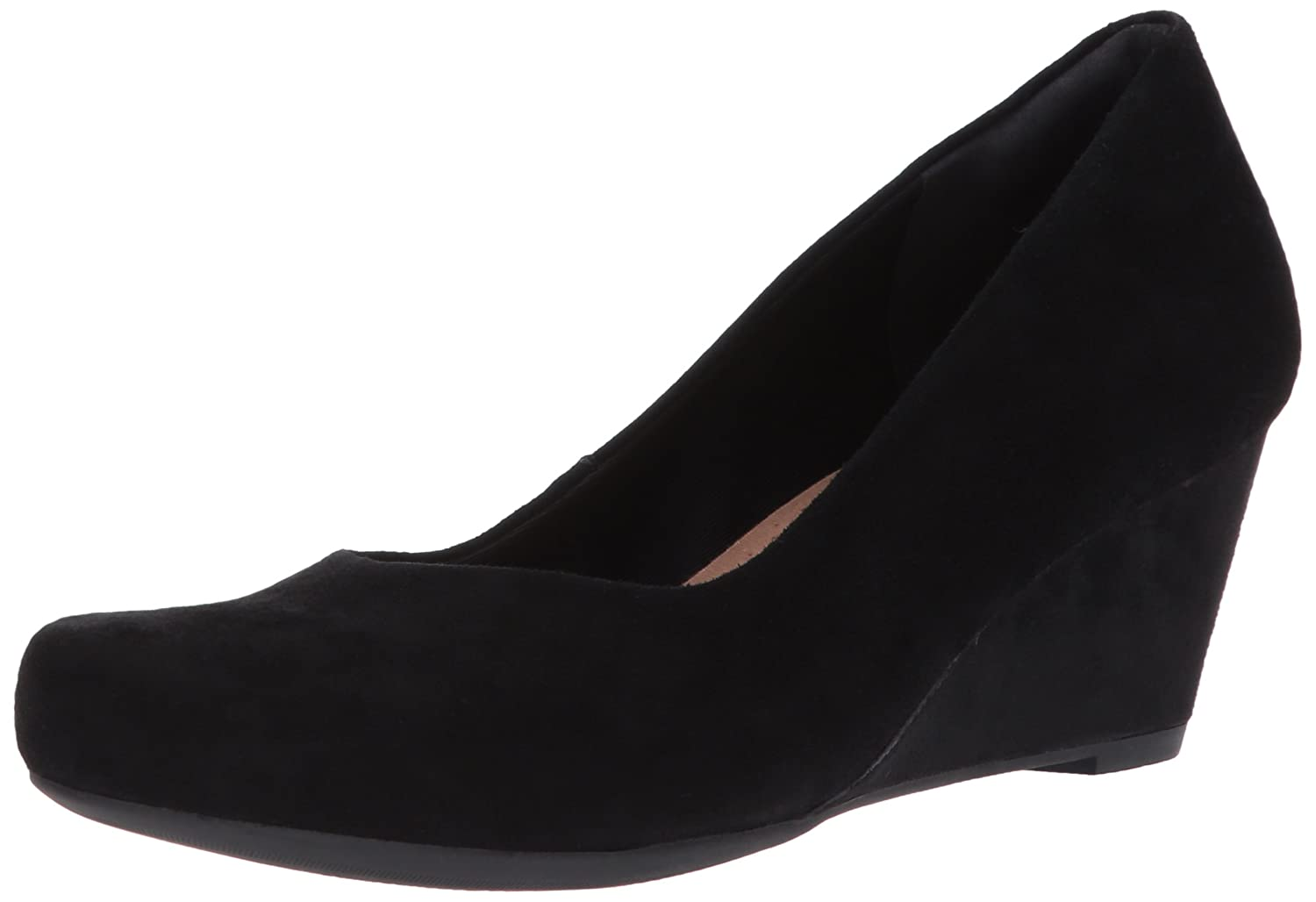 CLARKS Women's Flores Tulip Wedge Pump B01MT1E8K7 6.5 W US|Black Suede