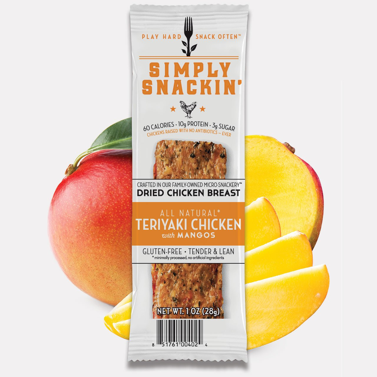 Simply Snackin - TERIYAKI Chicken Breast Snack with Mangos 20 snacks by Simply Snackin'