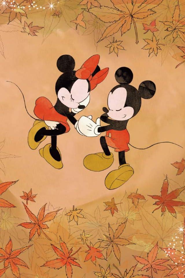 ディズニー 紅葉に囲まれたミッキーとミニー iPhone(640×960)壁紙画像