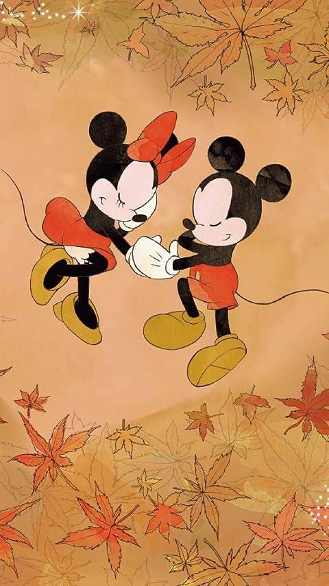 ディズニー 紅葉に囲まれたミッキーとミニー XFVGA(480×854)壁紙画像