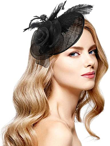 Acecharming Fascinators for Women, Feather Sinamay Fascinators with  Headbands Tea Party Pillbox Hat Flower Derby Hats(Black-02) at Amazon  Women's Clothing store