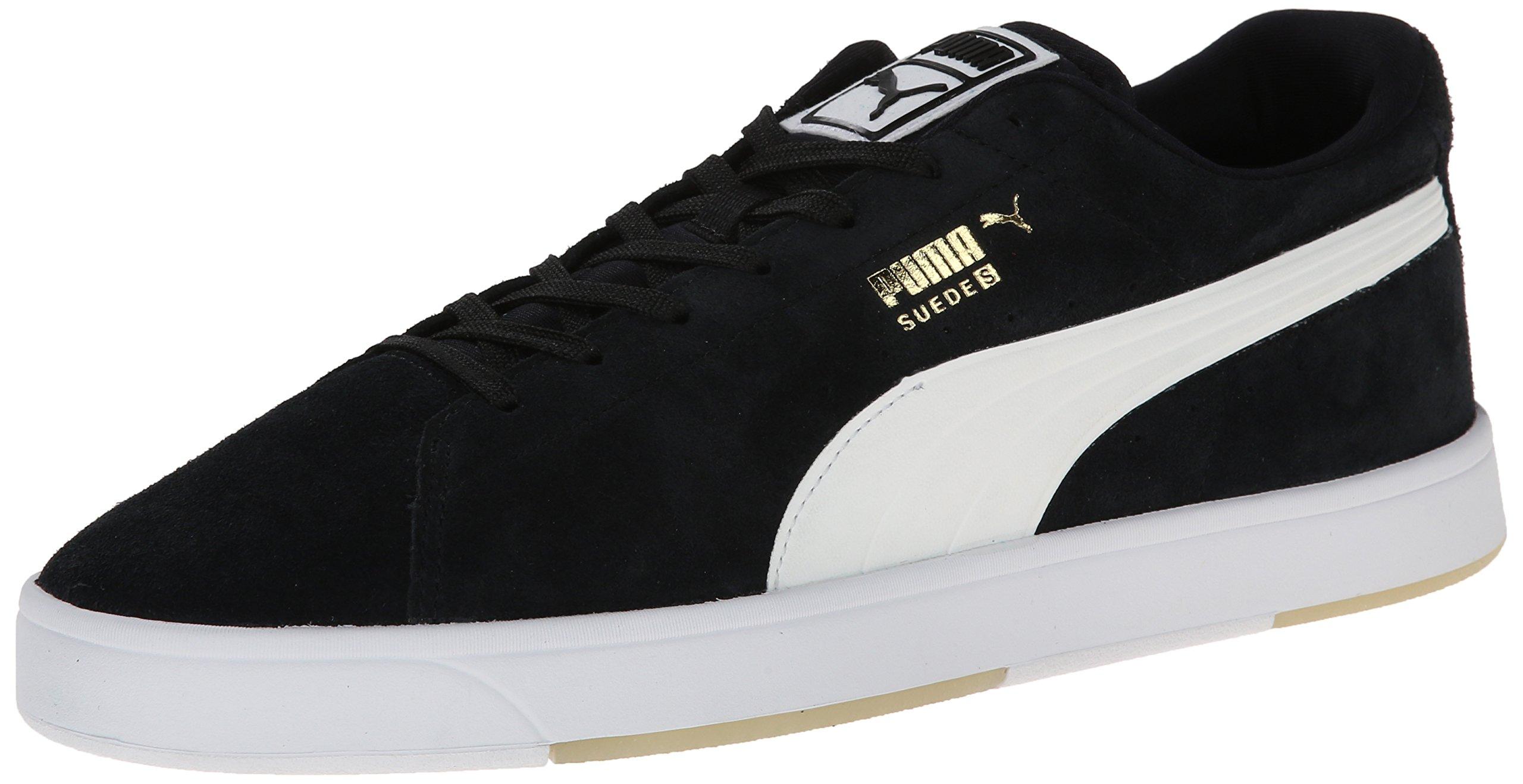 PUMA Men's Suede S Lace-Up Fashion Sneaker, Black/White, 10.5 M US