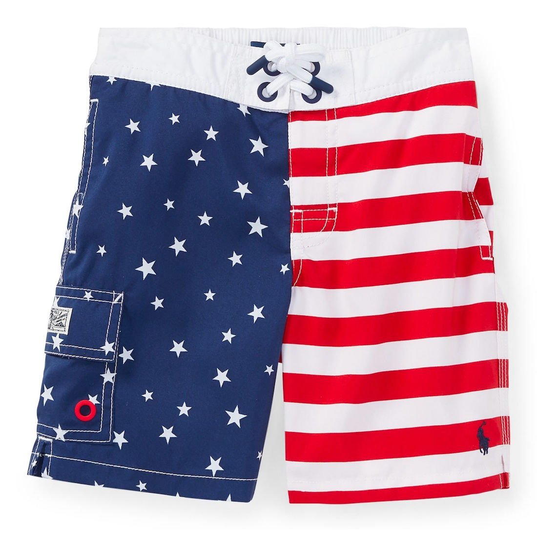 RALPH LAUREN Polo Mens American Flag Swim Trunk (L, Americana)