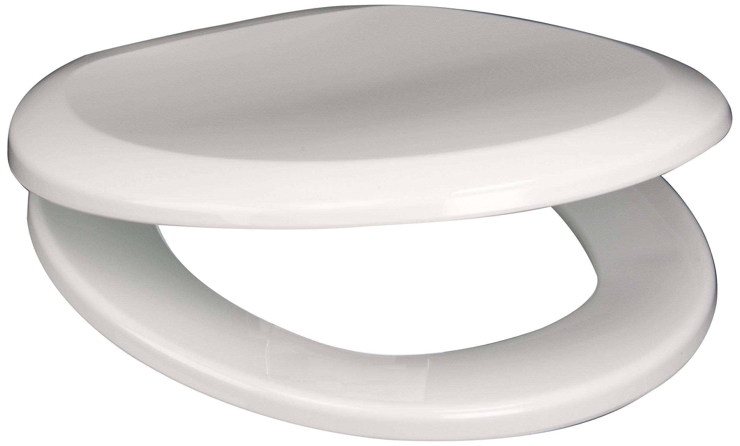 PlumbTech 260-04 Premium Slow Close Round Toilet Seat with Adjustable Hinge, Cotton White