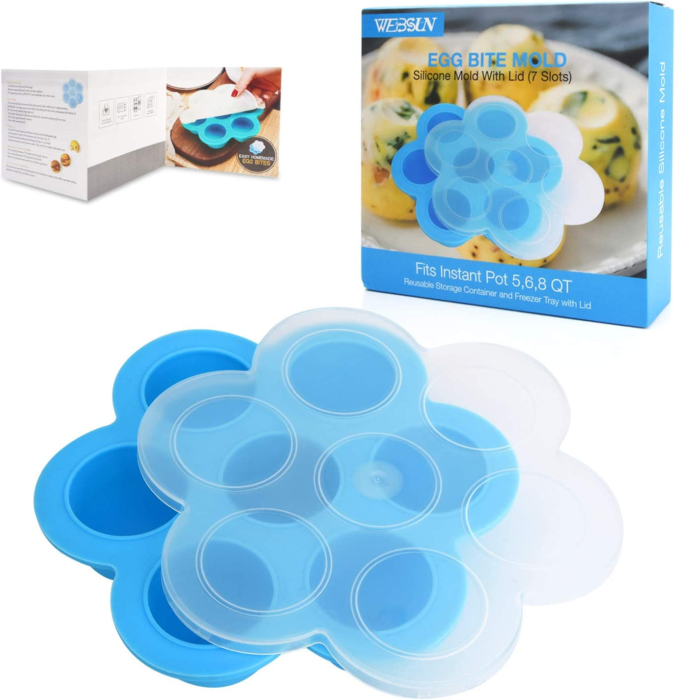 WEBSUN Silicone Egg Bites Molds for Instant Pot Accessories for 5,6,8 qt Pressure Cooker, Reusable Storage Container, Freezer Trays with Lid - with Recipe User Guide