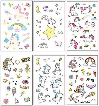 Auony Unicornio Tatuajes temporales para niños, 6 Hojas Regalos ...