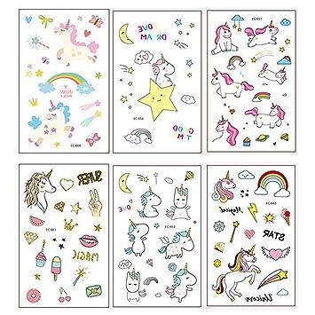Auony Unicornio Tatuajes temporales para niños, 6 Hojas ...
