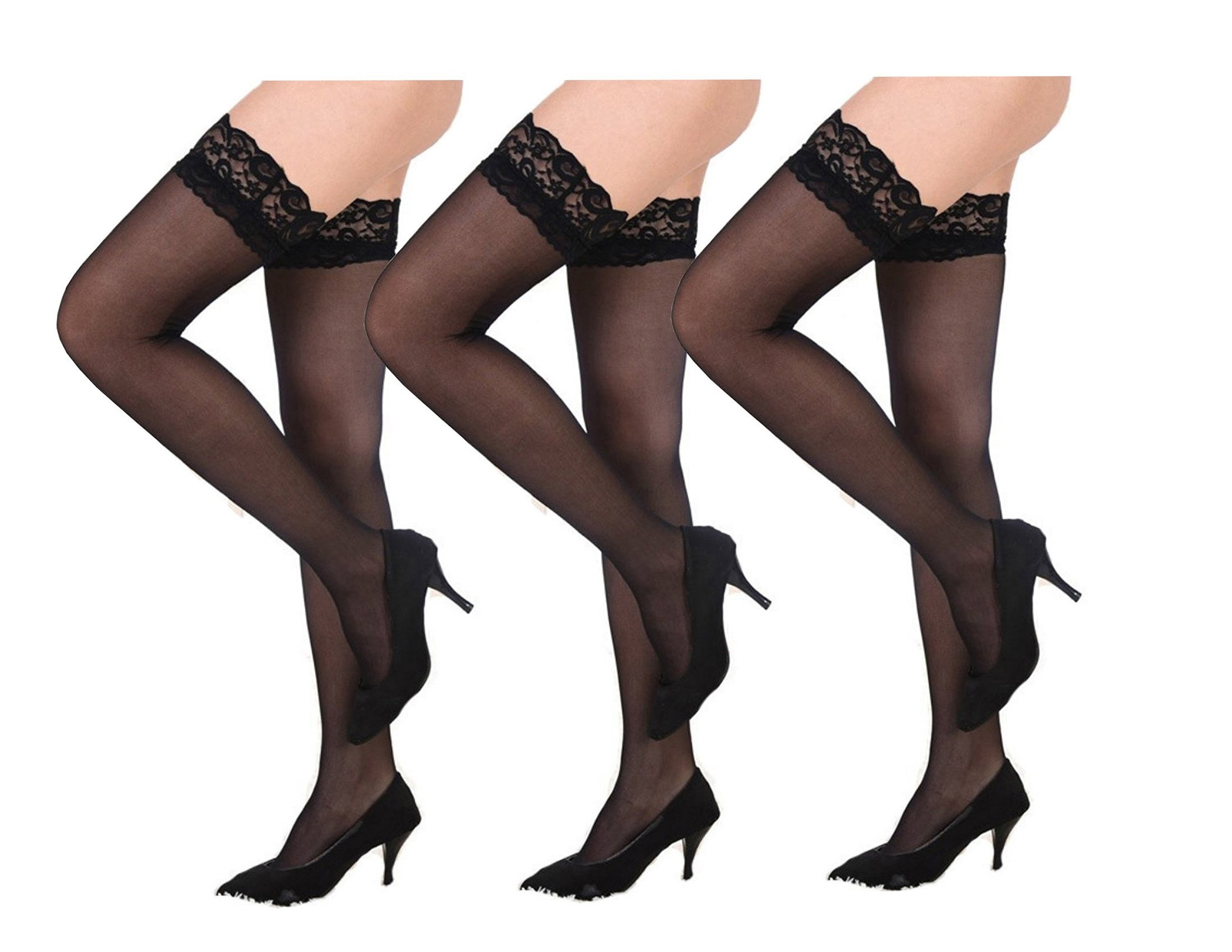 Thigh-High Stockings non-slip Silicone Sheer Lace Top Thigh High Over the Summer Style Sexy Knee Long Stockings (3-Pairs-Black)