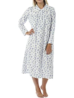 30439f9113 Ladies Brushed Winceyette Nightdress. Pink or Blue Floral Print on Ivory  Background. Sizes 8-10…