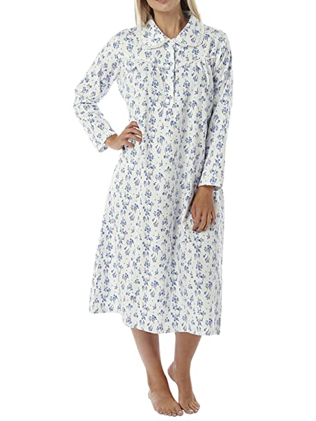 8edab0f381 Ladies Brushed Winceyette Nightdress. Pink or Blue Floral Print on Ivory  Background. Sizes 8-10 12-14 16-18 20-22 24-26 (20-22 (EUR 48-50), ...