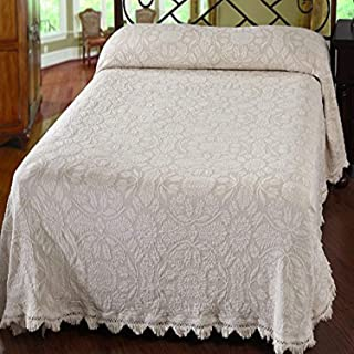 product image for Maine Heritage Weavers Colonial Rose Bedspread, King, White