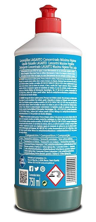 Lagarto Lavavajillas Mano Concentrado - Maxima Higiene - Paquete de 15 x 750 ml - Total: 11250 ml