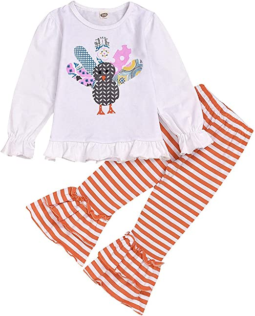 New Fall Spring Baby Girl Stripe Floral Outfit Long Sleeve 12 Month Thanksgiving