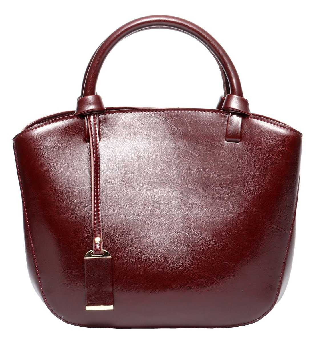 Covelin Genuine Leather Handbag Womens Retro Middle Size Tote Shoulder Bag Wine Red by Covelin