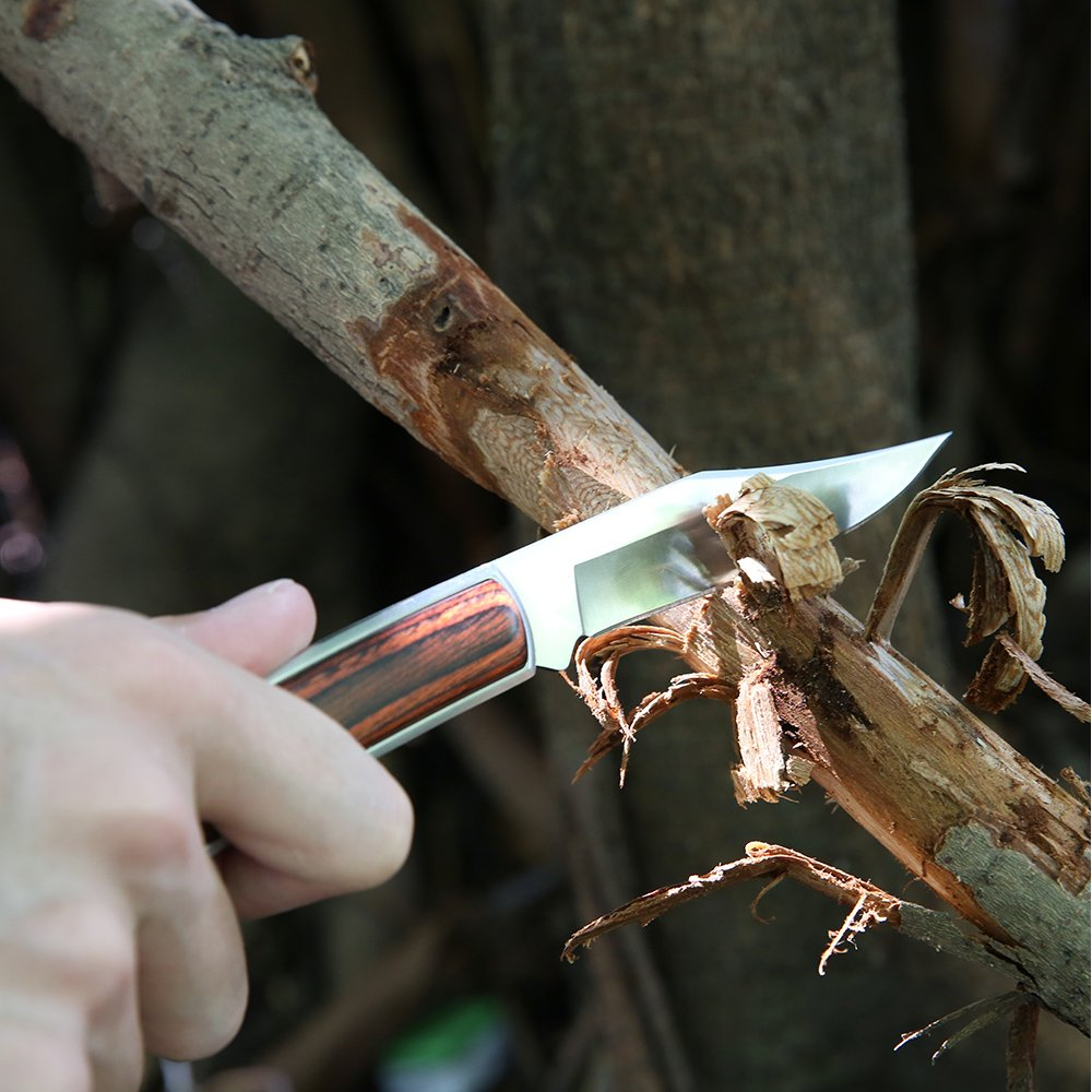 Z ZANMAX Folding Knife, 440C Stainless Pocket Knife Wood Handle Outdoor Camping Survival Hunting Knife Blade with Genuine Leather Sheath, Lockback Folding Knife, 3.5-Inch, Gift for Him by Z ZANMAX (Image #5)