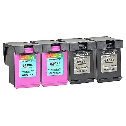 Nineleaf 4 cartuchos de tinta remanufacturados 62XL 62 XL de ...