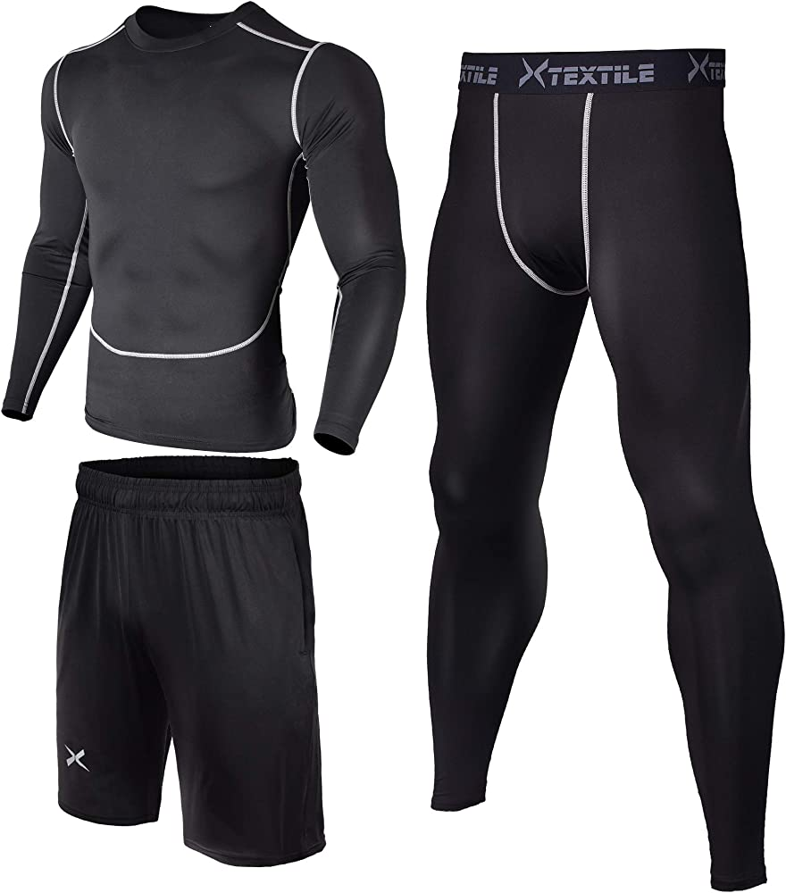 e30e9687f41c Xtextile 3 Pcs Men's Workout Set with Compression Pants, Long Sleeve Shirts  and Loose Fitting