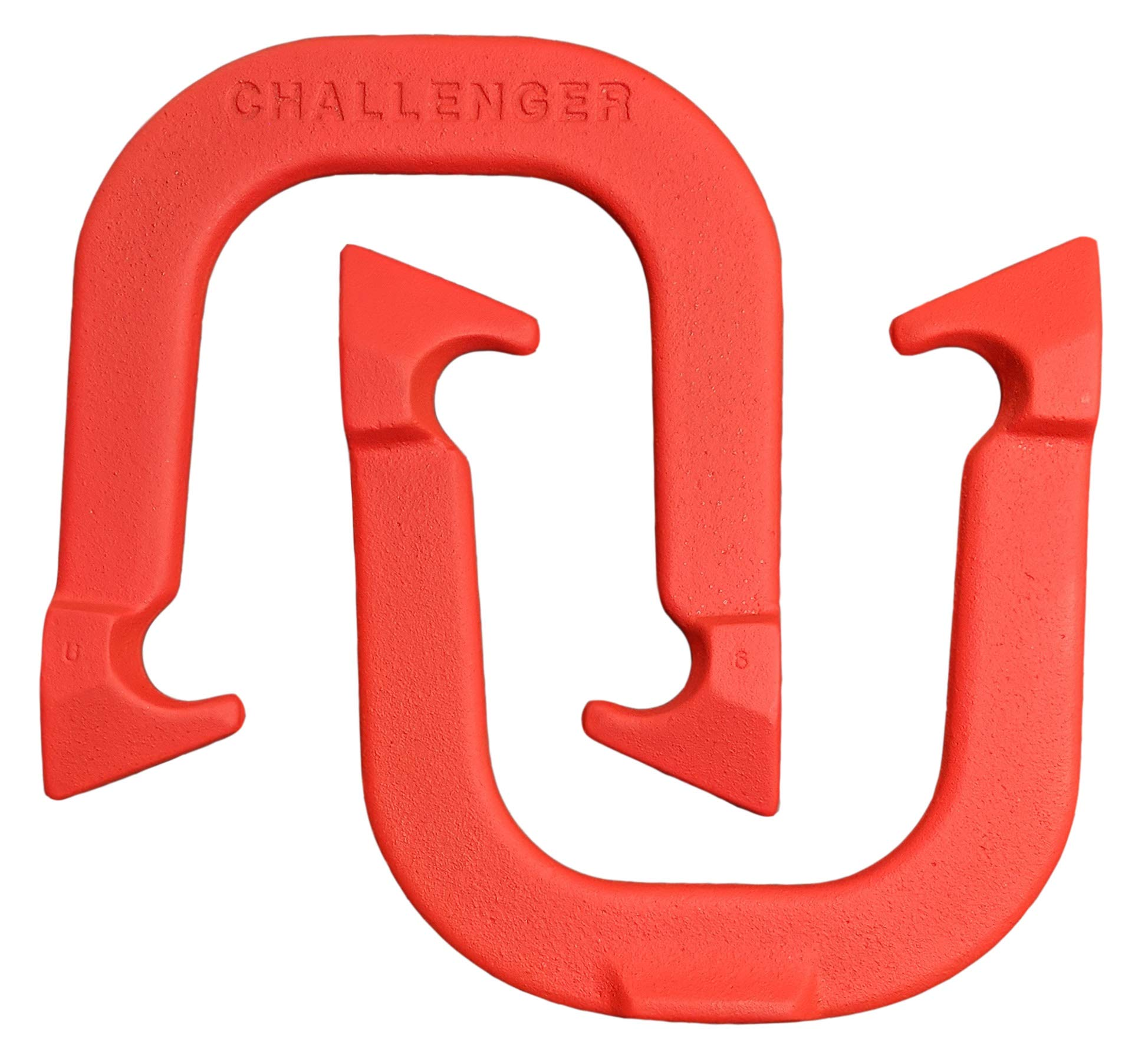 Challenger Professional Pitching Horseshoes- Made in USA (Red- Single Pair (2 Shoes)) by Thoroughbred Horseshoes