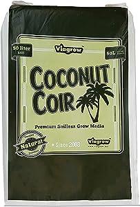 Viagrow VCCF50 1.5 cu. Ft Fluffed Coconut Pith Fiber Soilless Grow Media Bag Coco Coir, 1 Pack, Brown