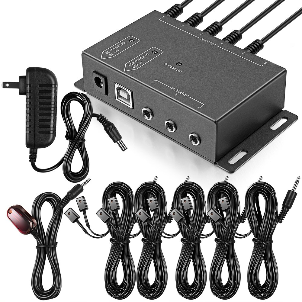 Infrared Repeater System IR Repeater Kit Control Up To 10 Devices Hidden IR System Infrared Remote Control Extender Kit by ICESPRING