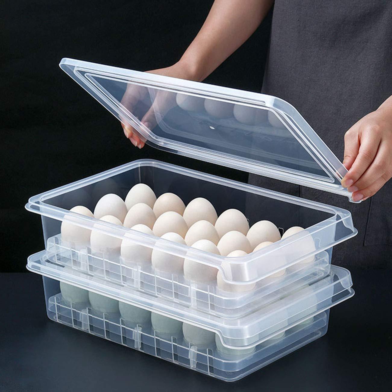 Transparent 18 Eggs Holder Storage Box Kitchen Refrigerator Fresh-Keeping Container Storage Organiser (Transparent)