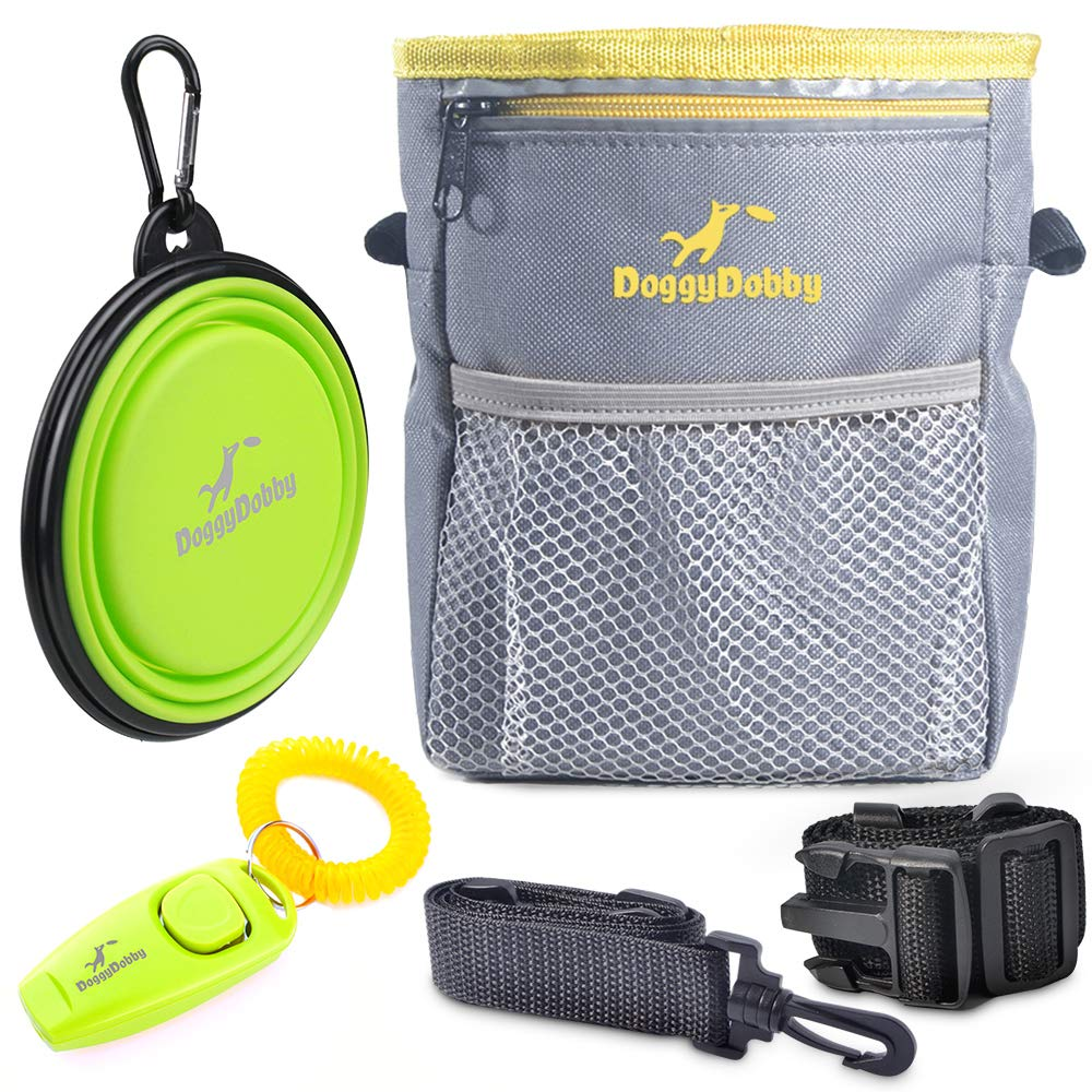 2019 Upgraded Extra Long Adjustable Waistband Dog Treat Pouch Pet Training Pouch with Clicker / Training Whistle and Collapsible Silicone Water Bowl by Doggydobby