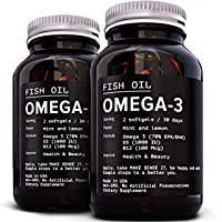 [2 Pack] Omega 3 Fish Oil Supplement 2400MG - High EPA 880MG + DHA 660MG - Triple Strength Burpless Capsules Softgels - Heart Health, Immune Support - Made in USA